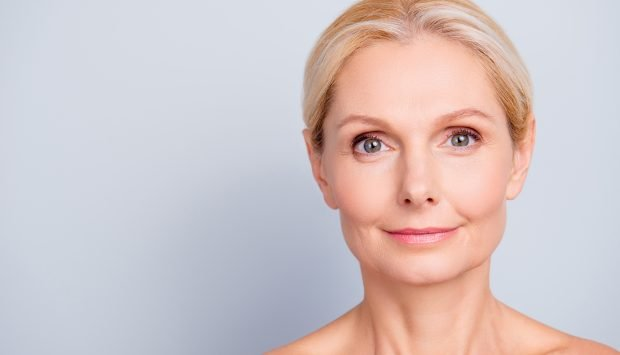 Smiling woman with clear, healthy skin