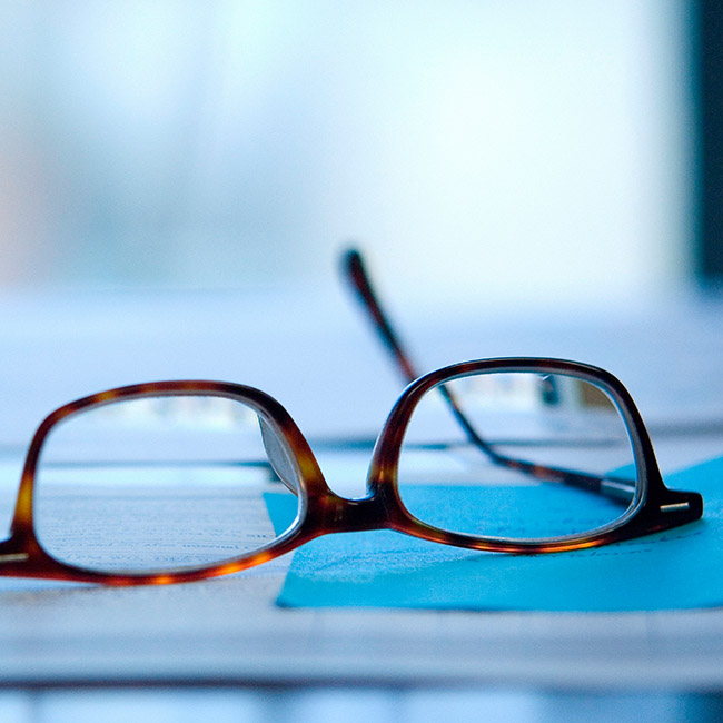 Pair of glasses on a table