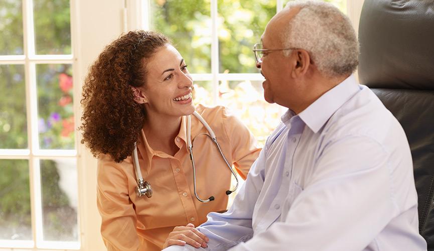 Patient receiving treatment via homecare