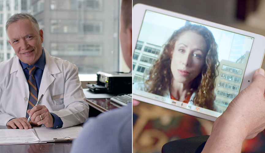 Physician delivers consultation in person and virtually