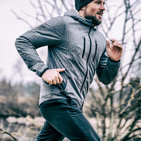 Person runs outdoors
